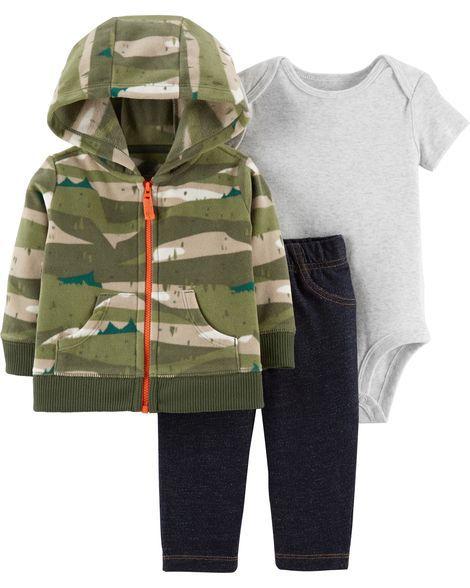 Conjunto 3 peças casaco em fleece e calça imita jeans - CARTERS