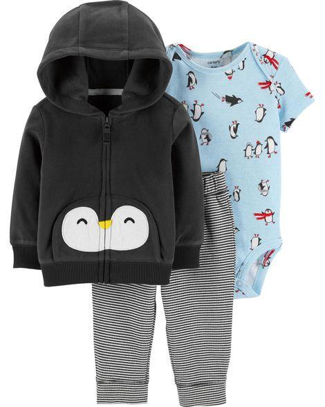 Conjunto 3 peças casaco em fleece Pinguim - CARTERS