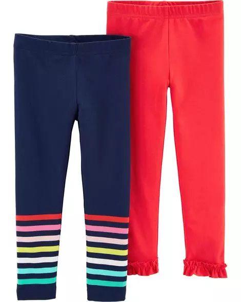 Conjunto 2 calças legging azul marinho e vermelho - CARTERS