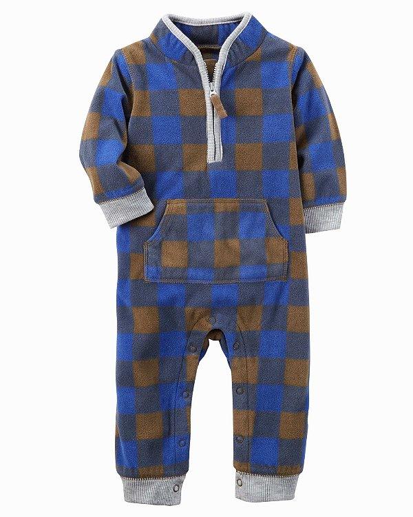 Macacão em fleece xadrez azul e marrom - CARTERS