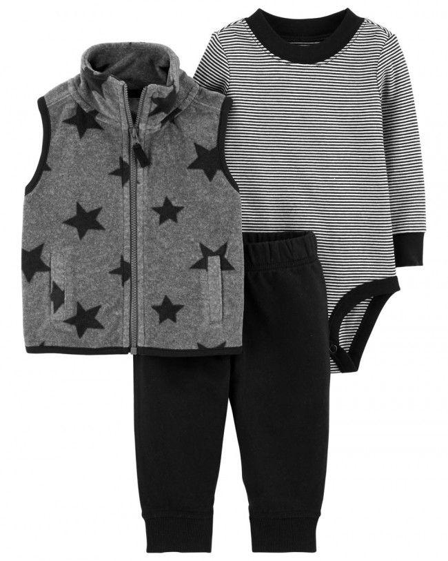Conjunto 3 peças colete em fleece cinza e preto Estrelas - CARTERS