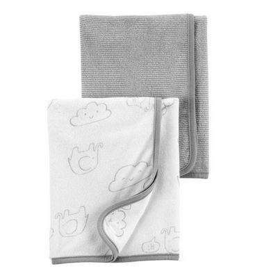 kit 2 mantas em tecido atoalhado cinza e branco Elefantinhos- CARTERS