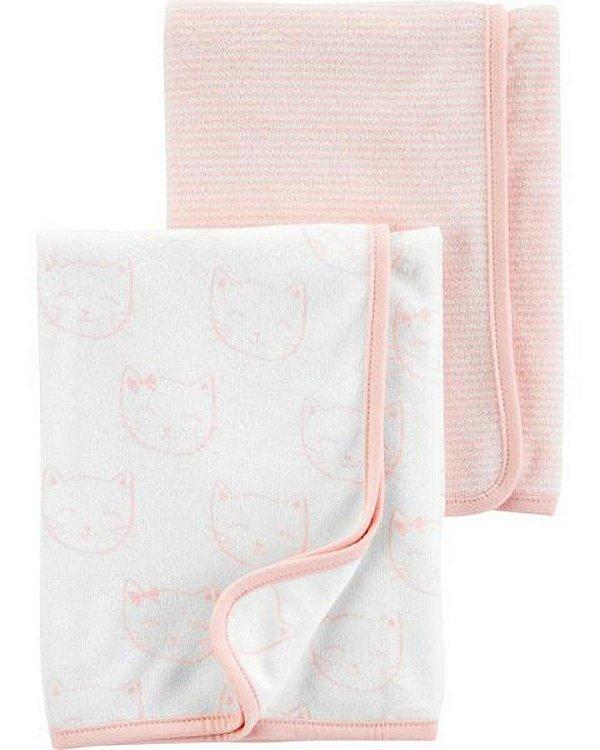 kit 2 mantas em tecido atoalhado rosa e branco Gatinhas - CARTERS