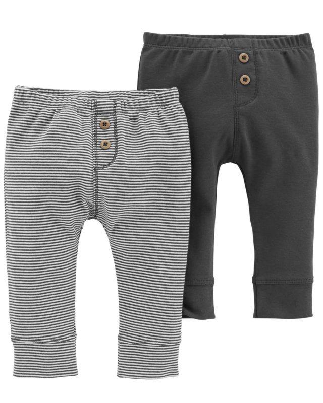 Conjunto 2 calças saruel em malha listrada e chumbo - CARTERS