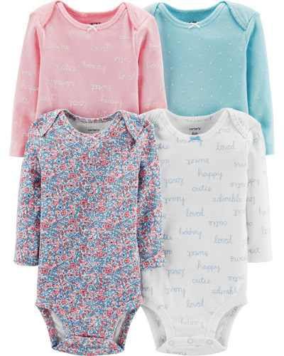Kit body 4 peças rosa e azul florido - CARTERS
