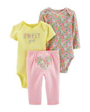 Conjunto 3 peças rosa e amarelo florido - CARTERS