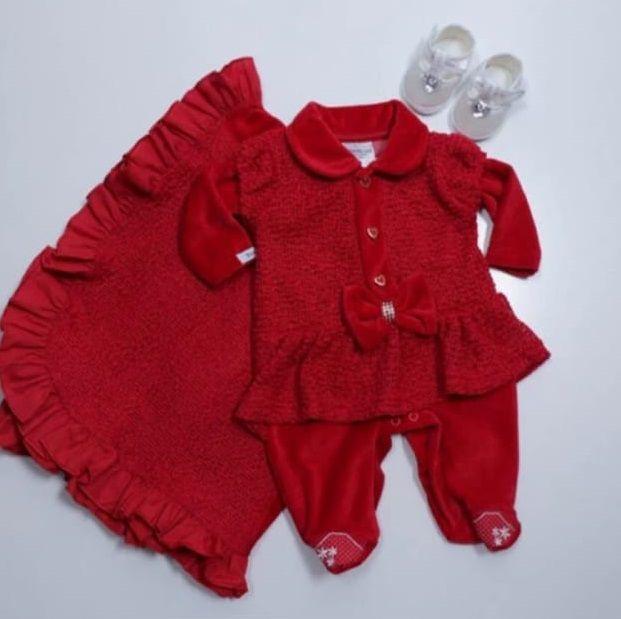 Saída Maternidade vermelho plush conjunto 2 peças - macacão e manta