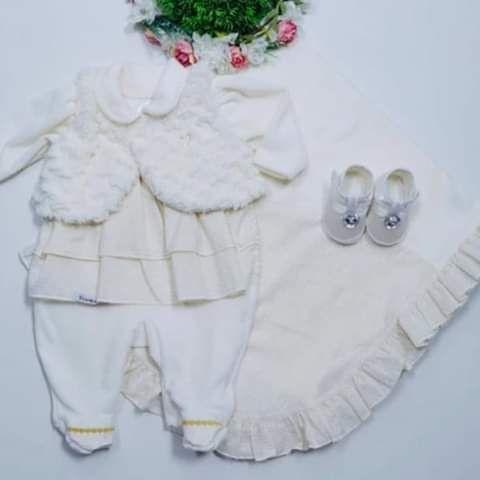 Saída Maternidade 2 peças - Macacão e manta cor natural