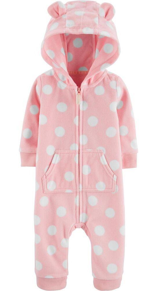 Macacão em fleece rosa com capuz - Carter's