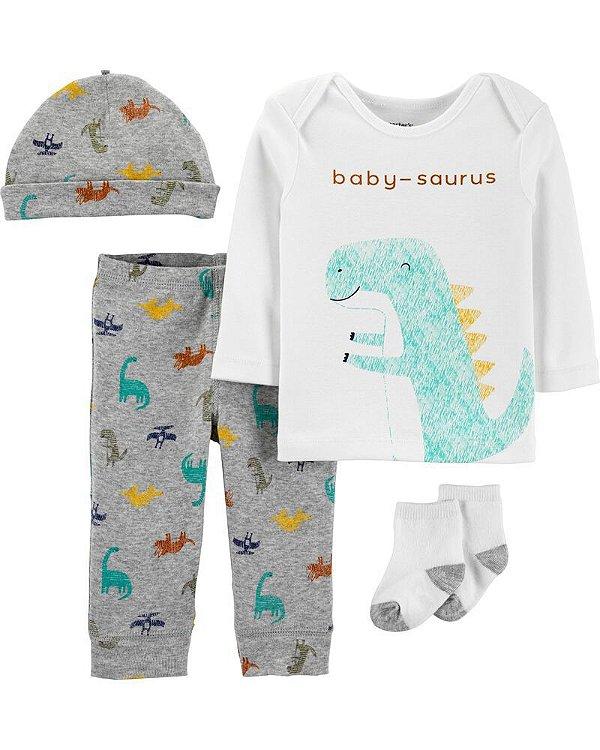 Conjunto 4 peças - pijama Baby-sauros - Carter's