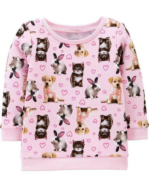 Blusa em moletom peluciado rosa bichinhos - Carter's