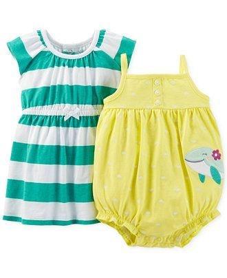 Conjunto 2 peças vestido verde listrado e romper Baleia - CARTERS