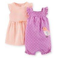 Conjunto 2 peças romper lilás passarinho com vestido laranja - CARTERS
