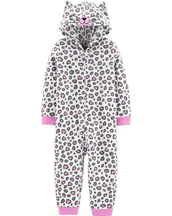 Macacão em fleece Leopardo rosa - CARTERS