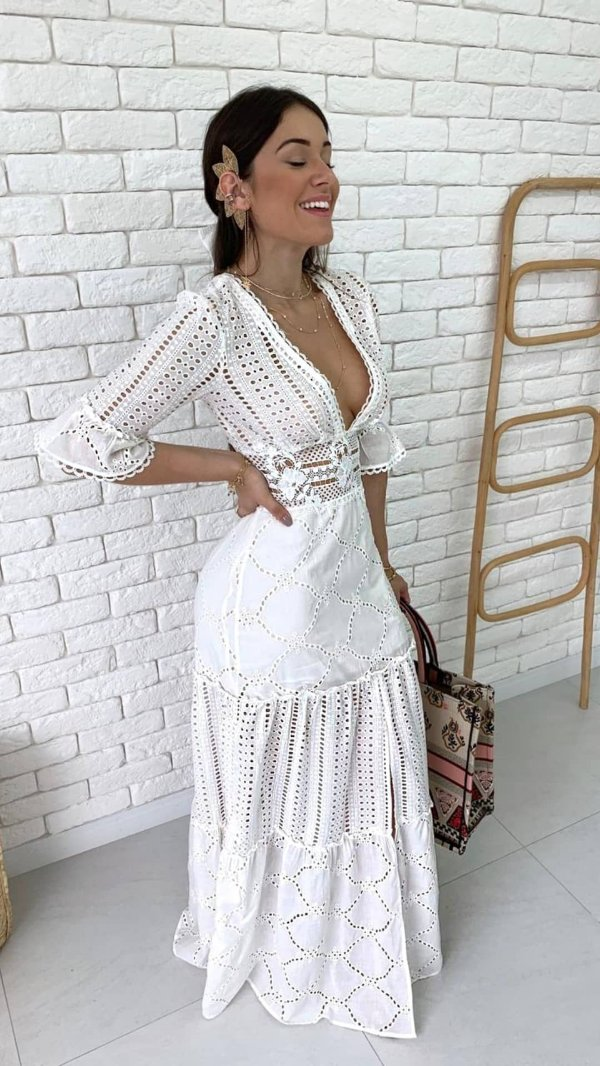 Vestido Longo Branco Leze e Guipir