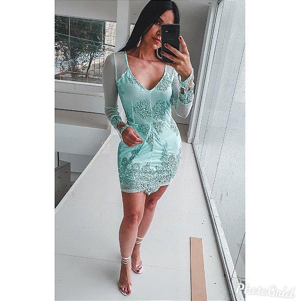 Vestido Tule Bordado
