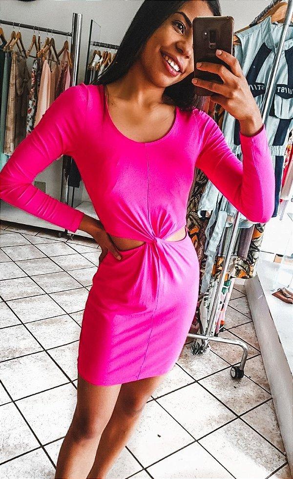 Vestido Manga Longa Pink