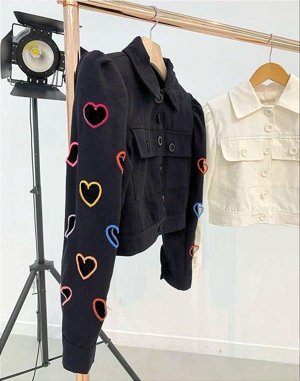 Jaqueta  Com Recortes Em Coração