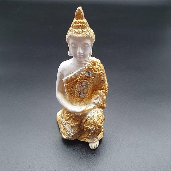 Buda Ajoelhado Dourado 9cm