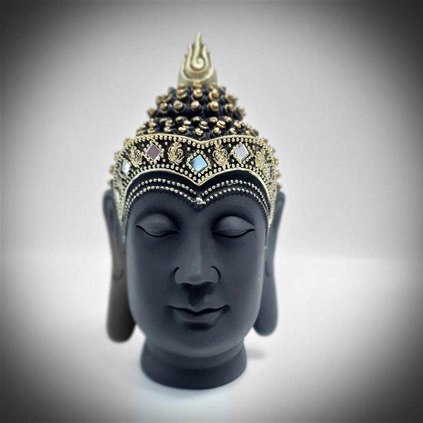 Buda Cabeça Preta com Dourado 21cm