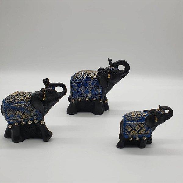 Elefante Preto com Manto Azul com Tromba para cima  - Kit com 3 unid. 9 Cm