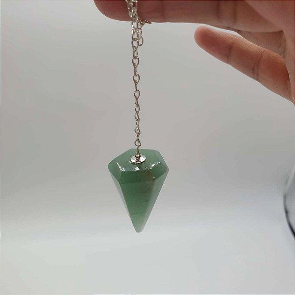 Pendulo de Quartzo Verde Facetado 17g - 4,5cm x 2cm