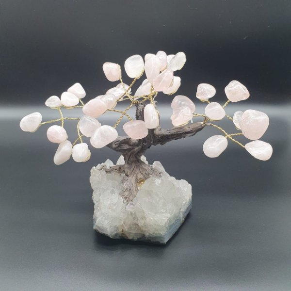 Árvore Quartzo Rosa com base em Drusa Cristal - 911g - 14cm x 10cm