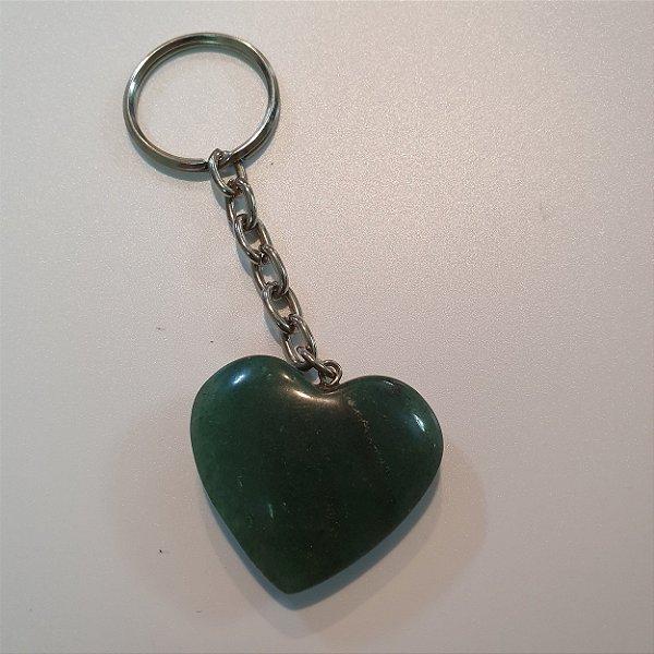 Chaveiro Coração Quartzo Verde