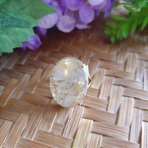 Anel Cristal Rutilado banhado a ouro