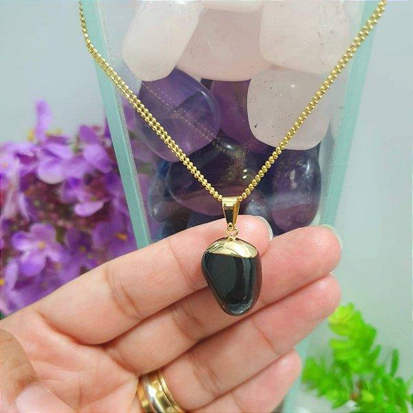 Pingente Turmalina Negra Pedra Rolada - 5 Gramas 2cm x 1cm
