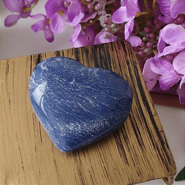 Coração de Quartzo Azul - 53 gramas 5cm x 4cm