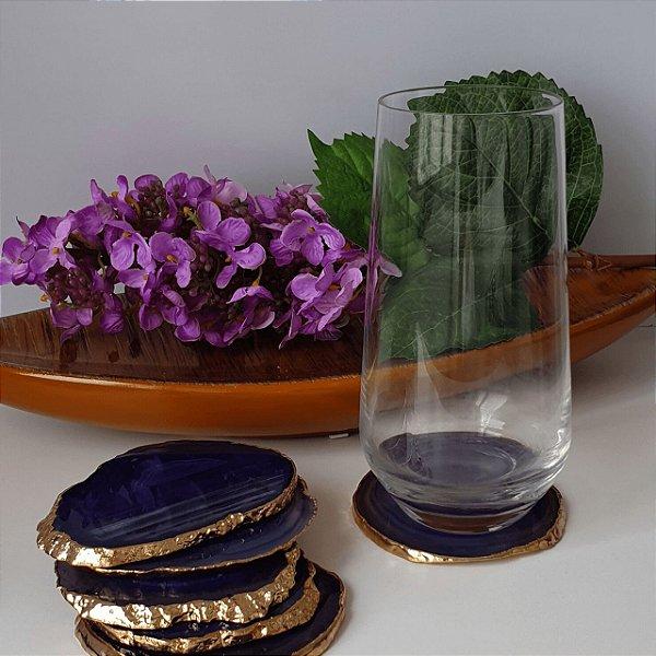 Porta Copos em Ágata Azul com bordas douradas galvanizadas - 4 peças 8cm x 0.5cm
