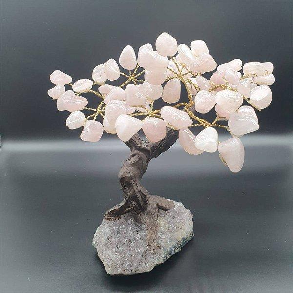 Árvore em Quartzo Rosa com base em Drusa Ametista - 1 Kilo 248 gramas 10cm x 17cm