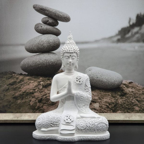 Buda Meditando Mandala Branco 21cm