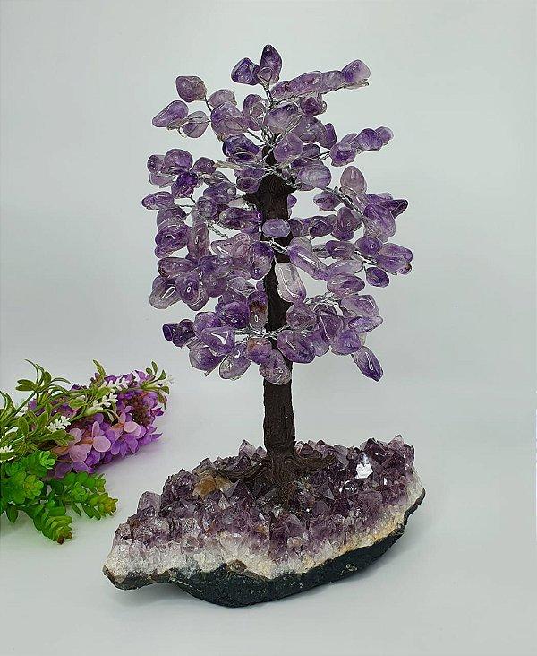 Árvore em Ametista com Base em Drusa de Ametista com Calcita - 30cm | 3.1kg (Lindíssima)