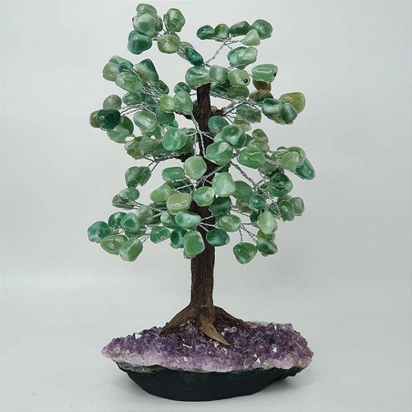 Árvore em Quartzo Verde com Base em Drusa de Ametista - 34cm | 2.5kg (Base de Ametista Incrível)