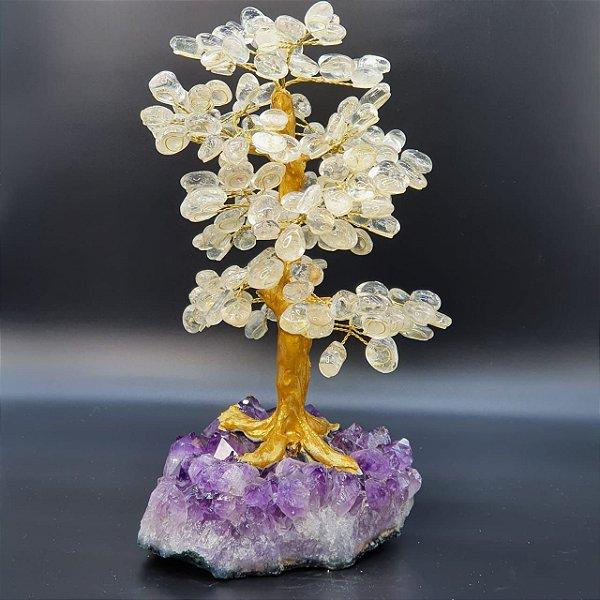 Árvore em Quartzo Transparente (Cristal de Quartzo) com Base em Drusa de Ametista - 35cm | 3,8kg (Exuberante)