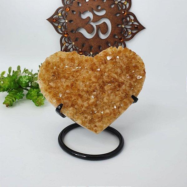 Drusa Coração Citrino 12,5cm 1k