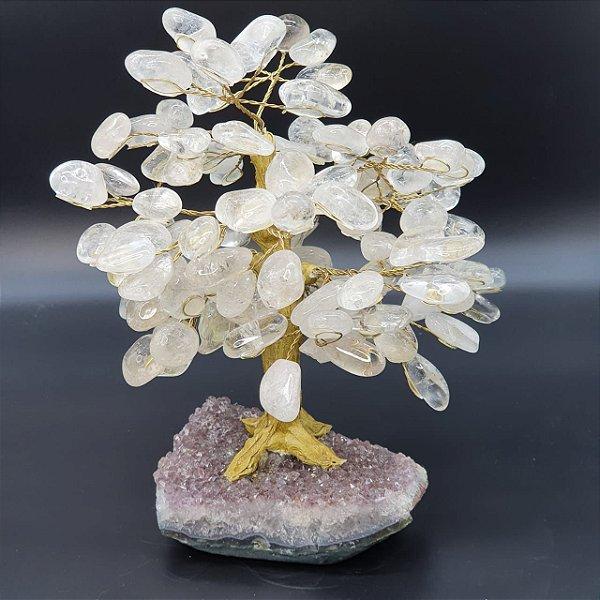 Árvore de Quartzo Transparente (Cristal de Quartzo) com Base em Drusa de Ametista | A26cm x L19CM | P2.470kg