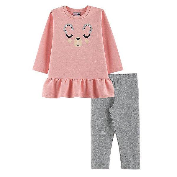 Conjunto Ursinha Casaco + Calça Legging Bebê Menina Candy Kids Rosé