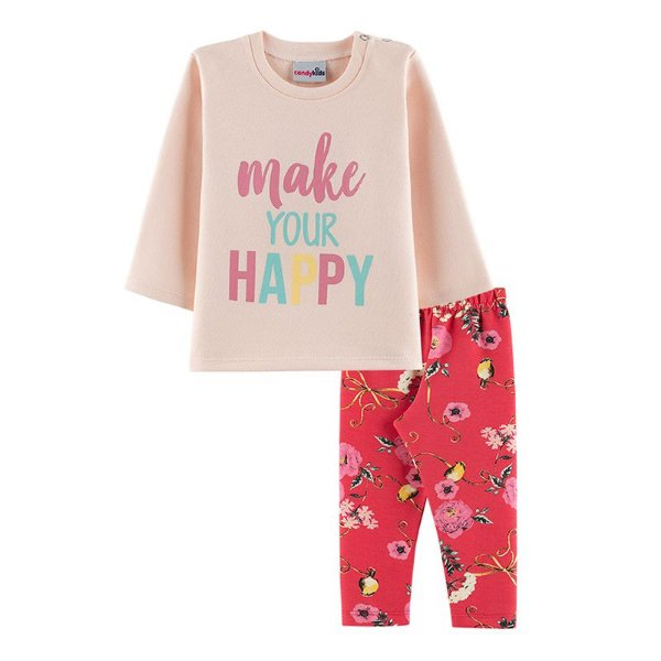 Conjunto Happy Casaco + Calça Legging Bebê Menina Candy Kids Angel