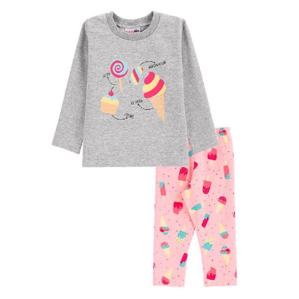Conjunto Sorvete Blusa + Calça Legging Bebê Menina Candy Kids Mescla
