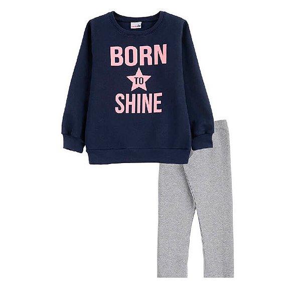 Conjunto Born to Shine Casaco + Calça Legging Infantil Menina Candy Kids Marinho