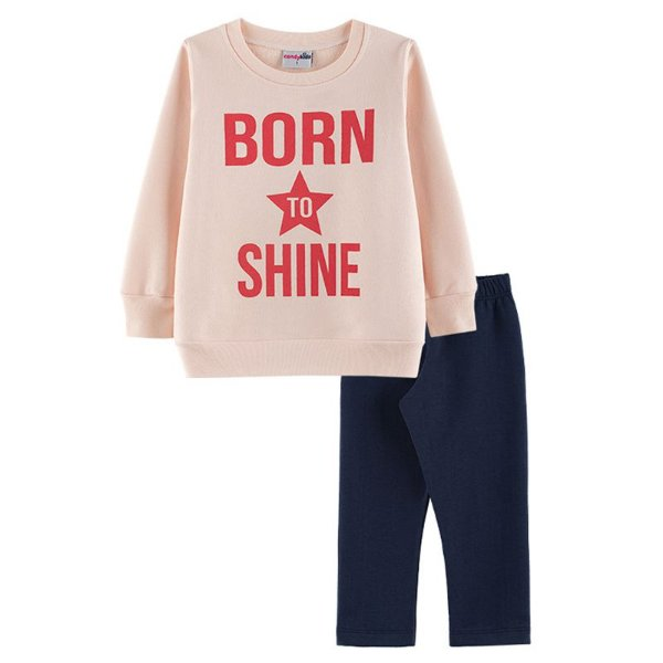 Conjunto Born to Shine Casaco + Calça Legging Infantil Menina Candy Kids Angel