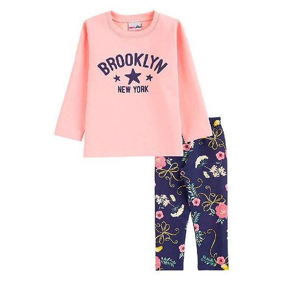 Conjunto Brooklyn Casaco + Calça Legging Infantil Menina Candy Kids Rosé