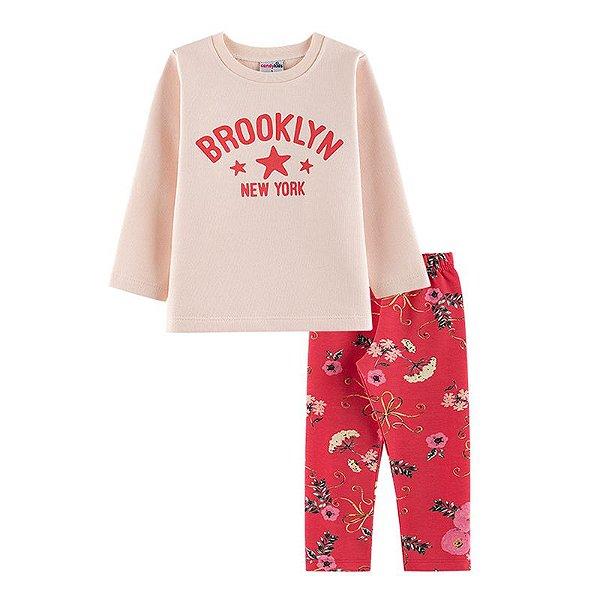 Conjunto Brooklyn Casaco + Calça Legging Infantil Menina Candy Kids Angel