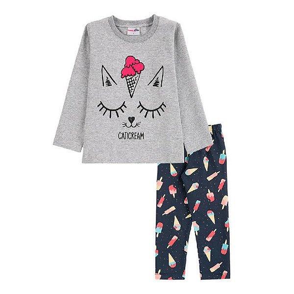 Conjunto Caticream Blusa + Calça Legging Infantil Menina Candy Kids Mescla