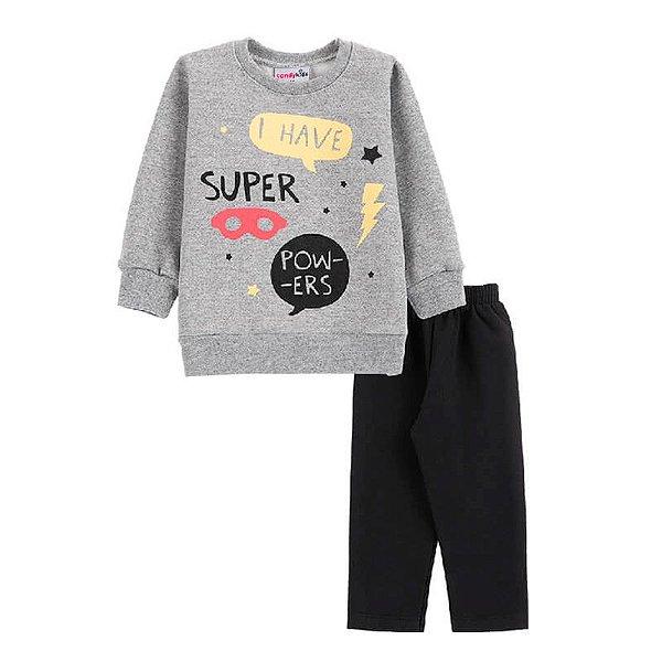 Conjunto Super Powers Casaco + Calça Bebê Menino Candy Kids Mescla