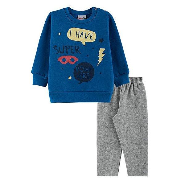 Conjunto Super Powers Casaco + Calça Bebê Menino  Candy Kids Royal