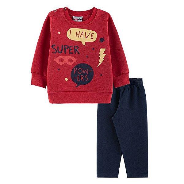 Conjunto Super Powers Casaco + Calça Bebê Menino  Candy Kids Vermelho